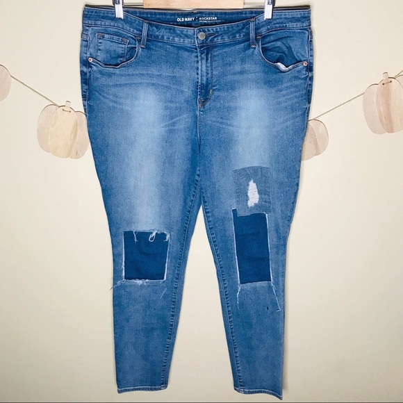 Old Navy Denim - 🔥Patchwork Old Navy Rockstar Skinny Jeans